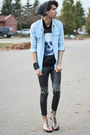 Light-blue-spikes-denim-chicnova-shirt-charcoal-gray-mesh-skull-romwe-shirt