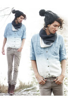 light blue ombre denim romwe shirt - white ombre scarf H&M Trend scarf