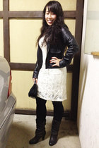 cream dress - black leather Candies boots - black leather jacket jacket