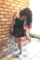 forest green Forever21 skirt - teal Wet Seal top - ivory kohls vest
