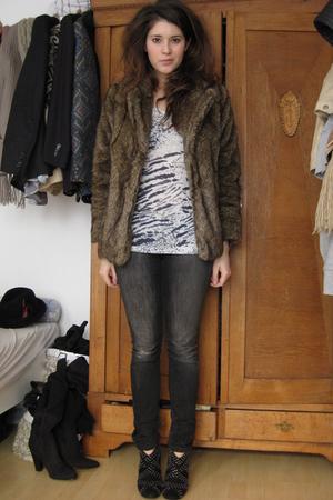 Zara boots - Diesel coat - H&M jeans - Mango blouse