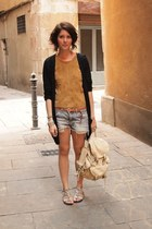 Topshop bag - H&M shorts - H&M Trend romper - Nine West cardigan
