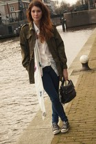 H&M jeans - vintage jacket - Zara bag - acne blouse