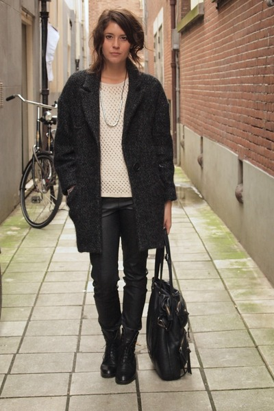 vintage boots - Isabel Marant coat - leather COS pants