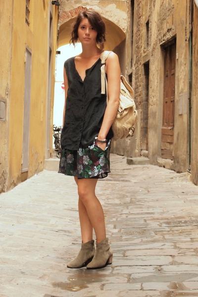 Isabel Marant boots - Topshop bag - Isabel Marant skirt - vintage blouse