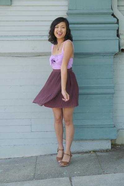 periwinkle Charlotte Russe top - brown Nine West heels