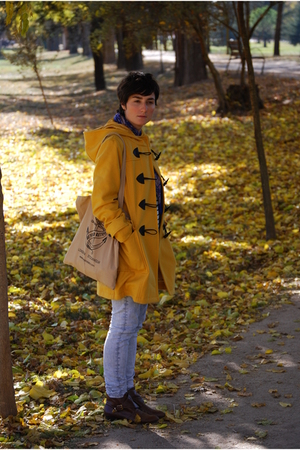 brown anckle boots Topshop boots - yellow Primark coat - blue acid wash Topshop
