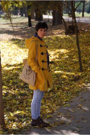 brown anckle boots Topshop boots - yellow Primark coat - blue acid wash Topshop