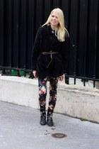 black chain Sasha shoes - black silk H&M shirt - black furry warm Ebay cardigan