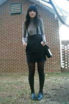 jumper UO - oxfords f21 - tights Walmart - faux fur coat moms - navy peacoat f21