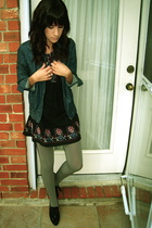UO tights - forever 21 dress - Nordstrom jacket - payless shoes