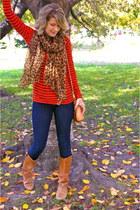 Forever 21 scarf - burnt orange vintage Dexter boots - navy Levis jeans