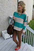 red J Crew flats - turquoise blue Forever 21 sweater - J Crew bag