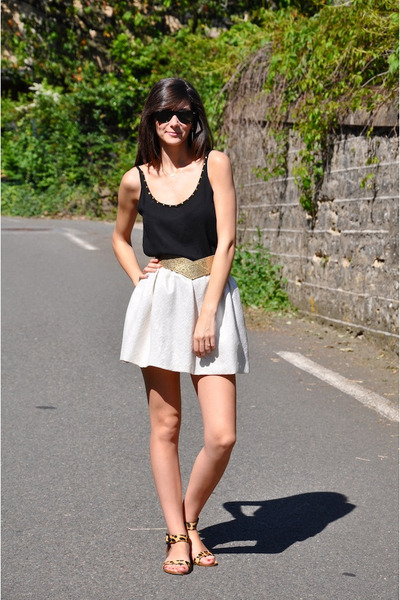 Zara top - Maje skirt - Zara flats