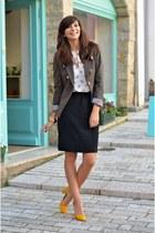 olive green Mango blazer - Zara shirt - black H&M skirt