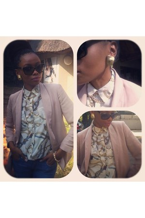 Zara blazer - Guess jeans - sm accessories earrings