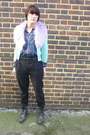 Green-french-connection-cardigan-blue-charity-shop-shirt-purple-h-m-scarf-