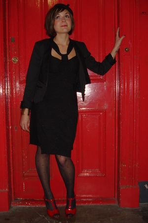 black H&M blazer - black All Saints dress - black William Chambers hat - red fre