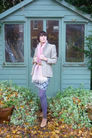 brown M&S blazer - pink thriftted scarf - blue Topshop skirt - silver M&S tights