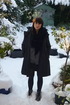 black Gap jacket - gray farah cardigan - black M&amp;S scarf - black charity shop sk