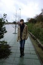 blue boots - dark khaki pull&bear coat - black pull&bear jeans - army green H&M
