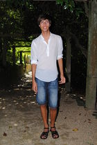 white Zara shirt - blue Bershka shorts - black BLANCO shoes