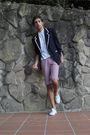 Blue-vintage-blazer-white-pull-and-bear-t-shirt-white-blanco-shorts-white-