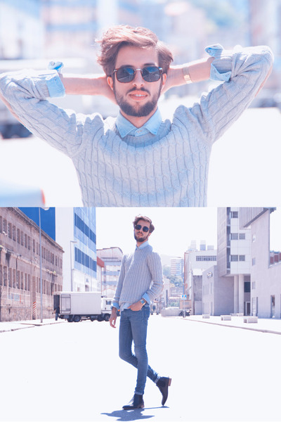 Zara shirt - H&M boots - H&M jeans - Zara sunglasses - pull&bear jumper