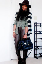 wool fedora hat - bag - faux leather pants - blouse