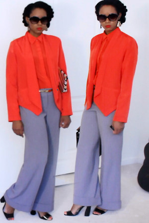 red tuxedo blazer - red button up blouse - heather gray wide leg Express pants