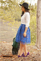 blue lace Anthropologie skirt - black leather Plastic Island jacket