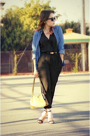 black satin Zara jumper - blue denim merona shirt - black TRF sandals