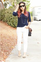 white Zara jeans - navy wool merona sweater - brown leopard Zara heels