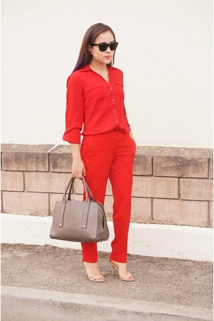 ruby red chiffon New York and Co blouse - ruby red cotton Express pants