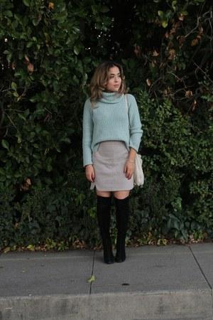 black suede Steve Madden boots - aquamarine mint Target sweater