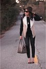 Black-leather-joie-pants-light-brown-fur-macys-vest