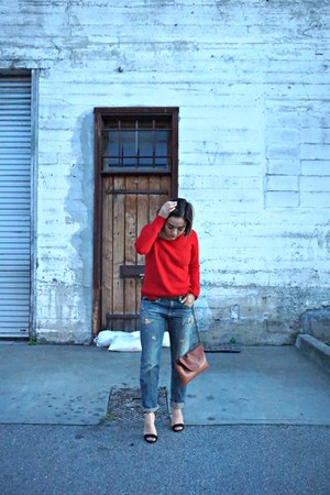navy denim Ralph Lauren jeans - ruby red cashmere Jcrew sweater