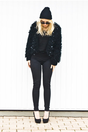 black sequin knitted romwe cardigan - black pencil romwe pants