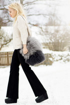 dark gray fluffy Zara bag