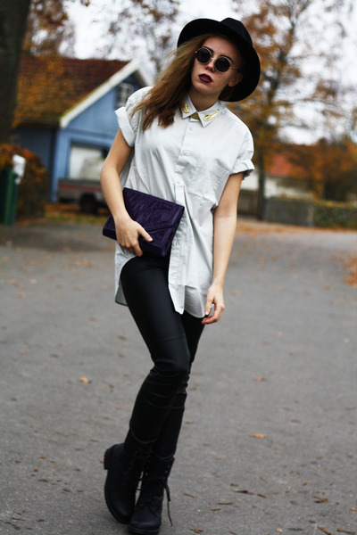 off white diy weekday shirt - black Scorett boots - black GINA TRICOT hat