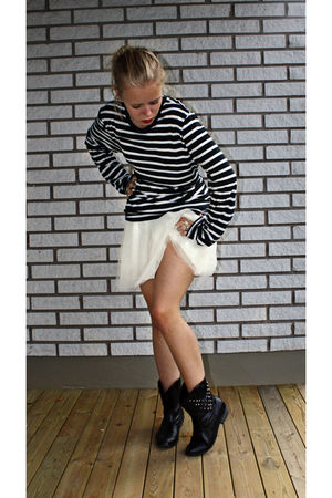 white BikBok dress - black H&M shirt - black Primark shoes - white Indiska stock