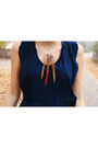 Black-gina-tricot-pants-carrot-orange-feather-homemade-necklace