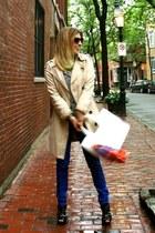 blue jeans - tan Zara jacket - hot pink scarf - white Target t-shirt