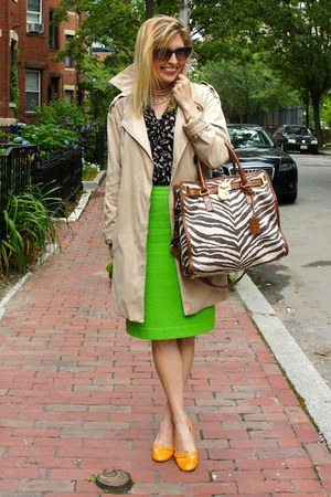 chartreuse escada skirt - orange Zara shoes - navy modcloth blouse