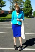 blue asos skirt - turquoise blue H&M blazer