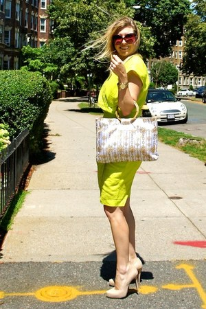 beige bcbg heels - chartreuse  dress