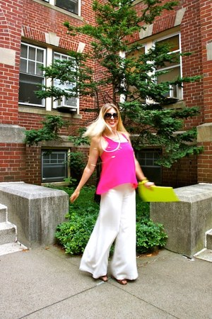 hot pink Forever 21 top - lime green asos bag - white Alexander McQueen pants