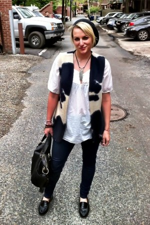 blue jean BDG jeans - white cotton Old Navy blouse - black leather Topshop loafe