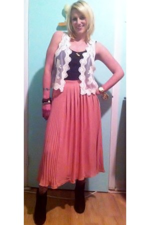 chiffon H&M skirt - lace up H&M vest - cotton American Apparel top - gold Michae
