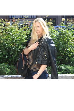 black faux leather Audrey jacket - navy skinny jeans Hudson jeans